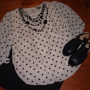 Dress Barn Size 16 Cream Black Polka Dot Shirt NWT